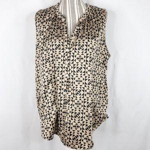 Daniel Rainn Brown Patterned Short Sleeve Blouse